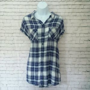 BEACHLUNCHLOUNGE COLLECTION flowy plaid shirt